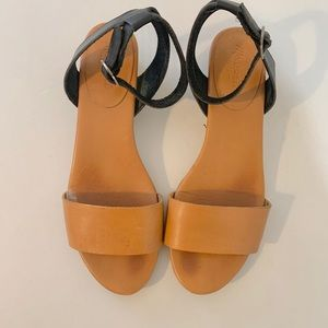 Madewell leather sandals in tan and black